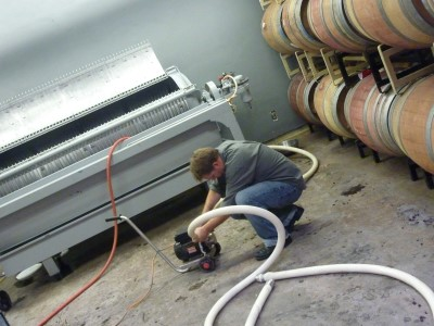 Carruth Cellars - cleaning presser