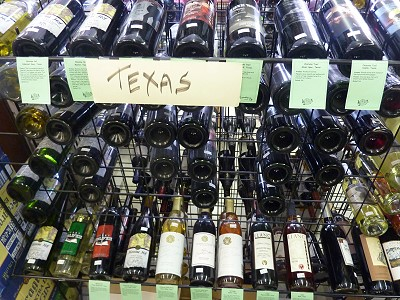 Texas wine - display