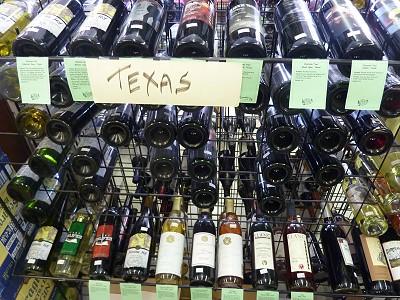 Texas wine - display