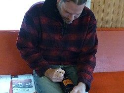 Sandstone - Scott signing bottle