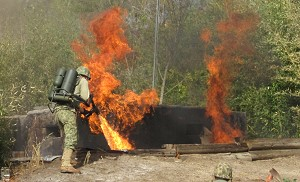 Pacific War - reenactment flamethrower