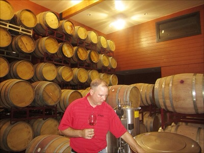 Todd Webster in barrel room