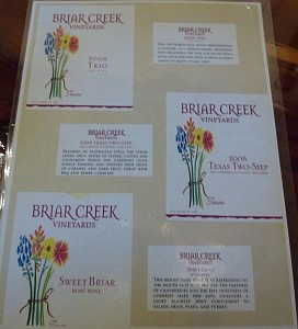 Briar Creek - wine labels