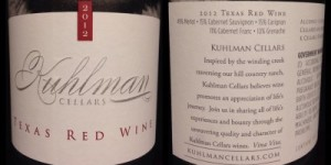 Kuhlman Cellars Texas Red Wine