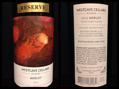 Westcave Cellars Reserve Merlot - label