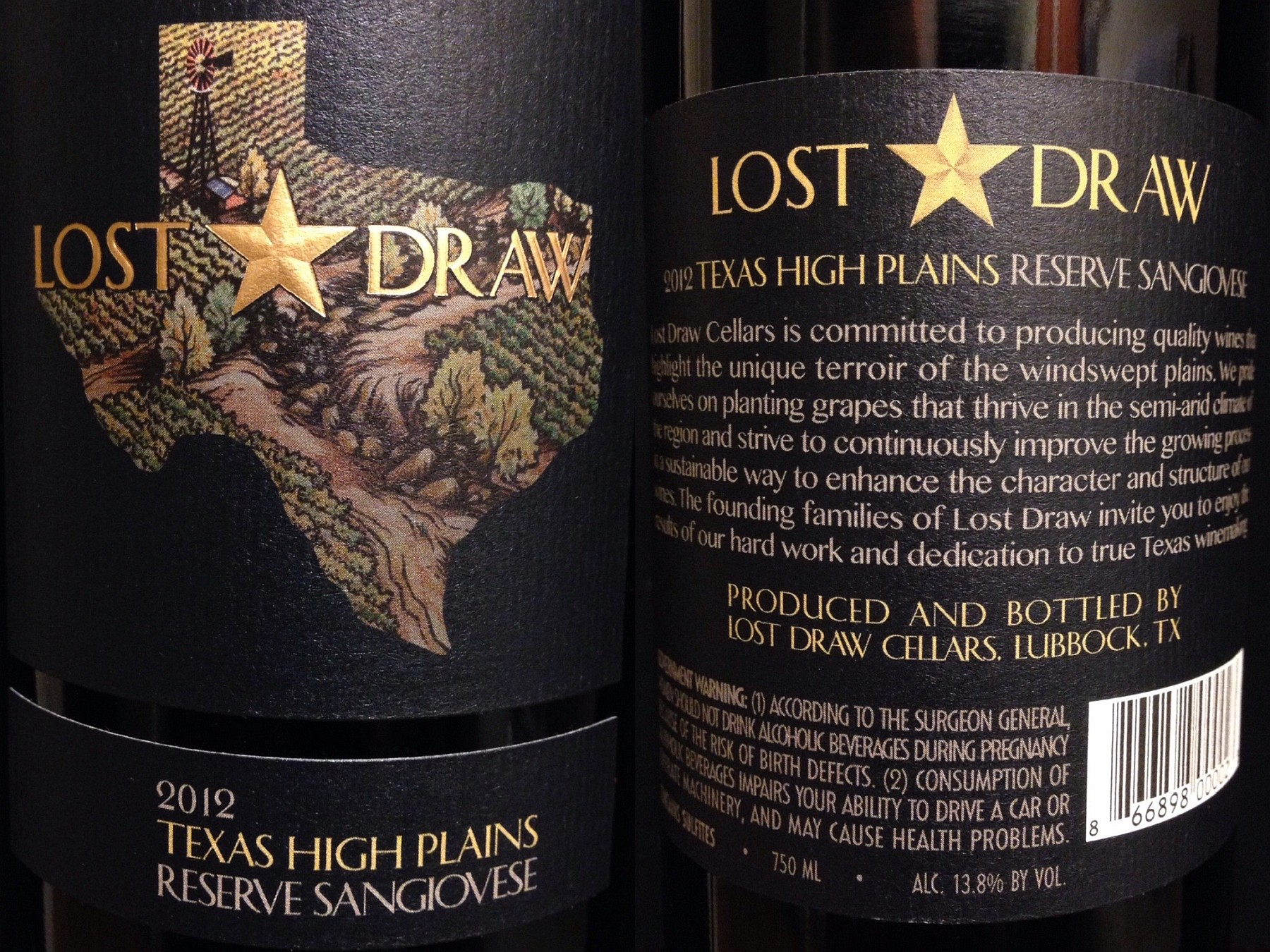 Lost Draw Sangiovese labels