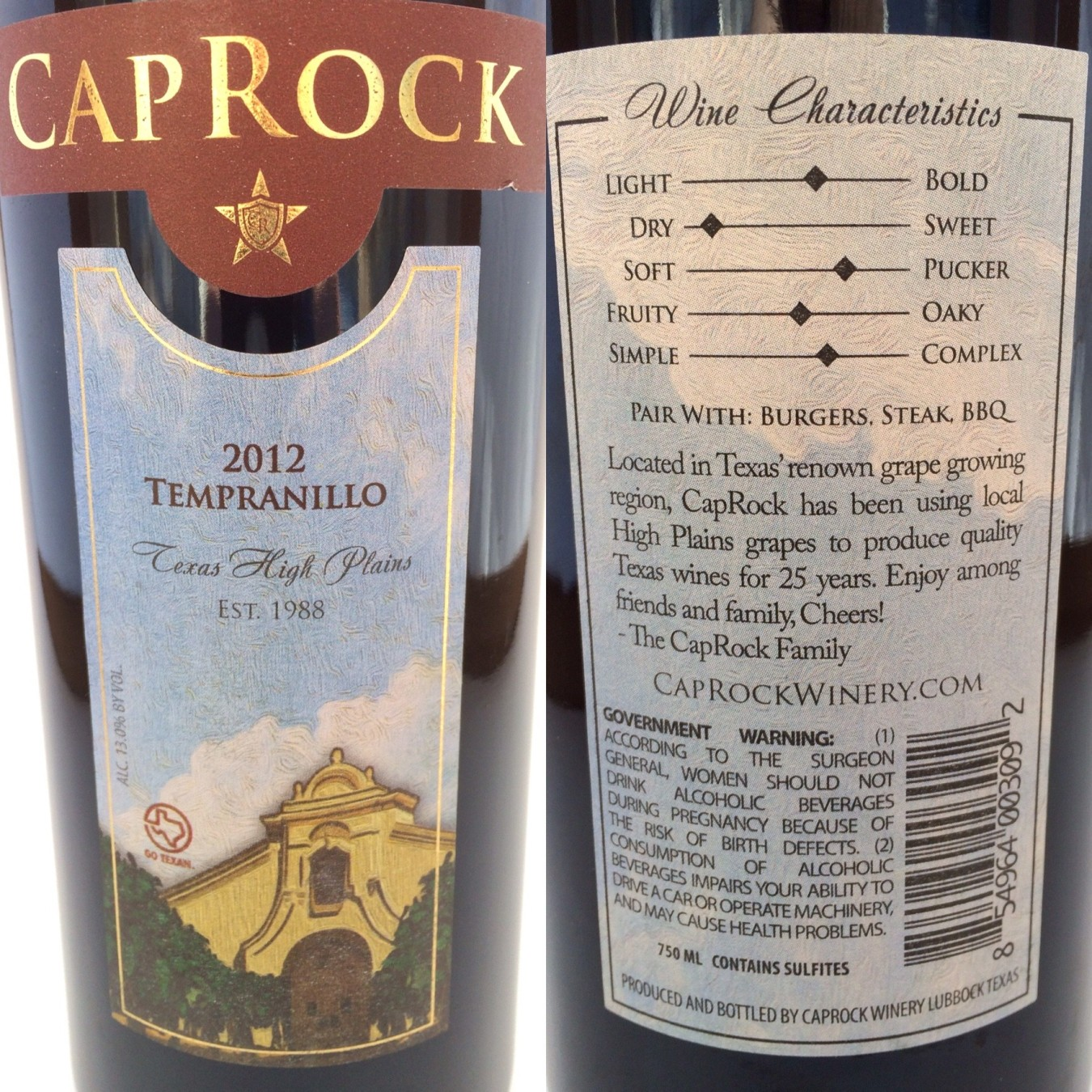 CapRock Winery Tempranillo labels