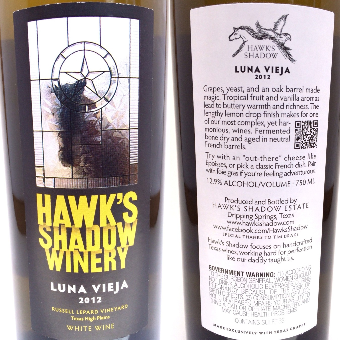 Hawk's Shadow Winery Luna Vieja labels