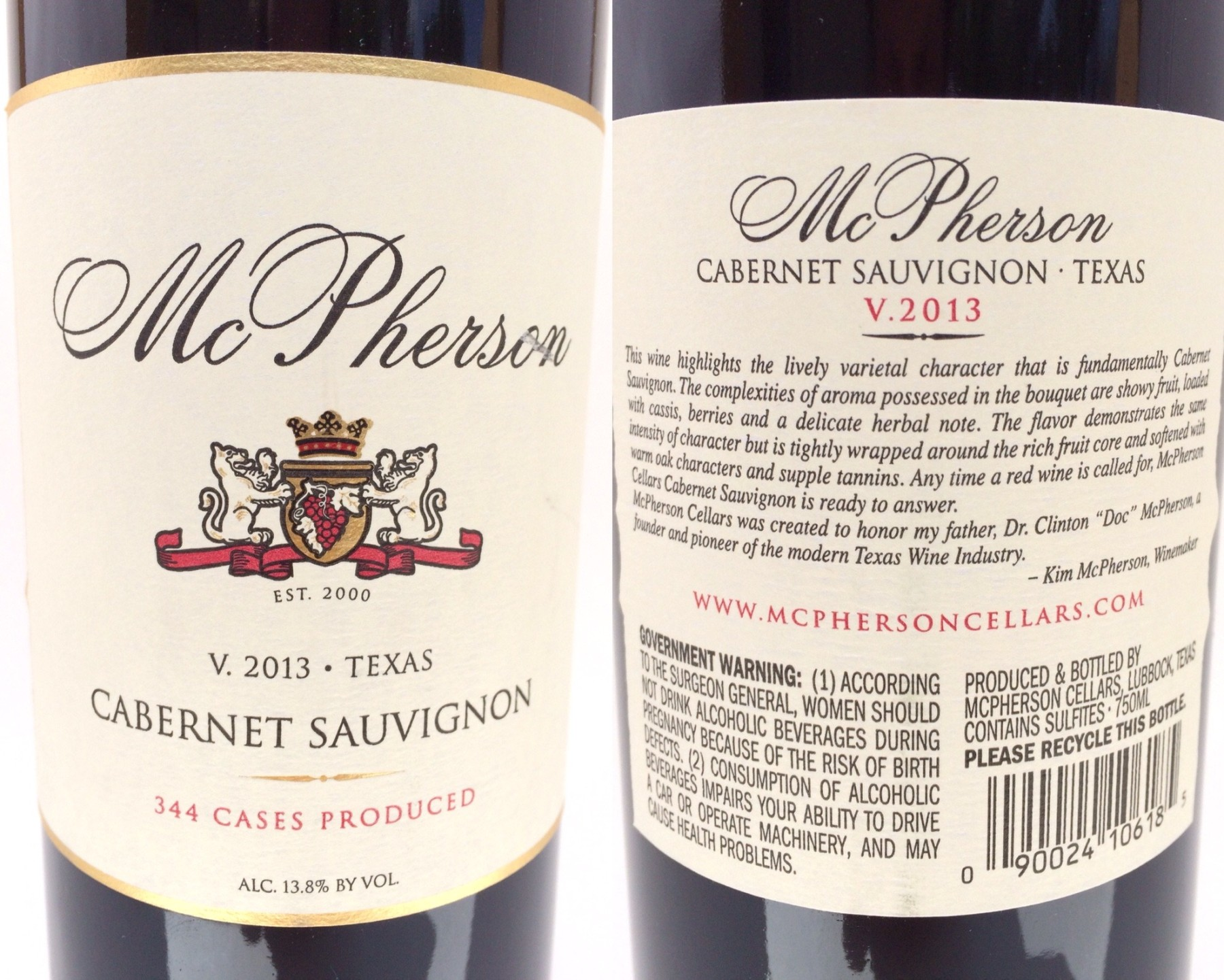 McPherson Cellars Cabernet Sauvignon labels