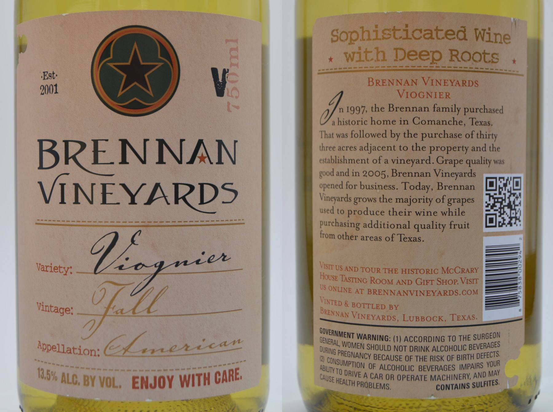 Brennan Vineyards Viognier label