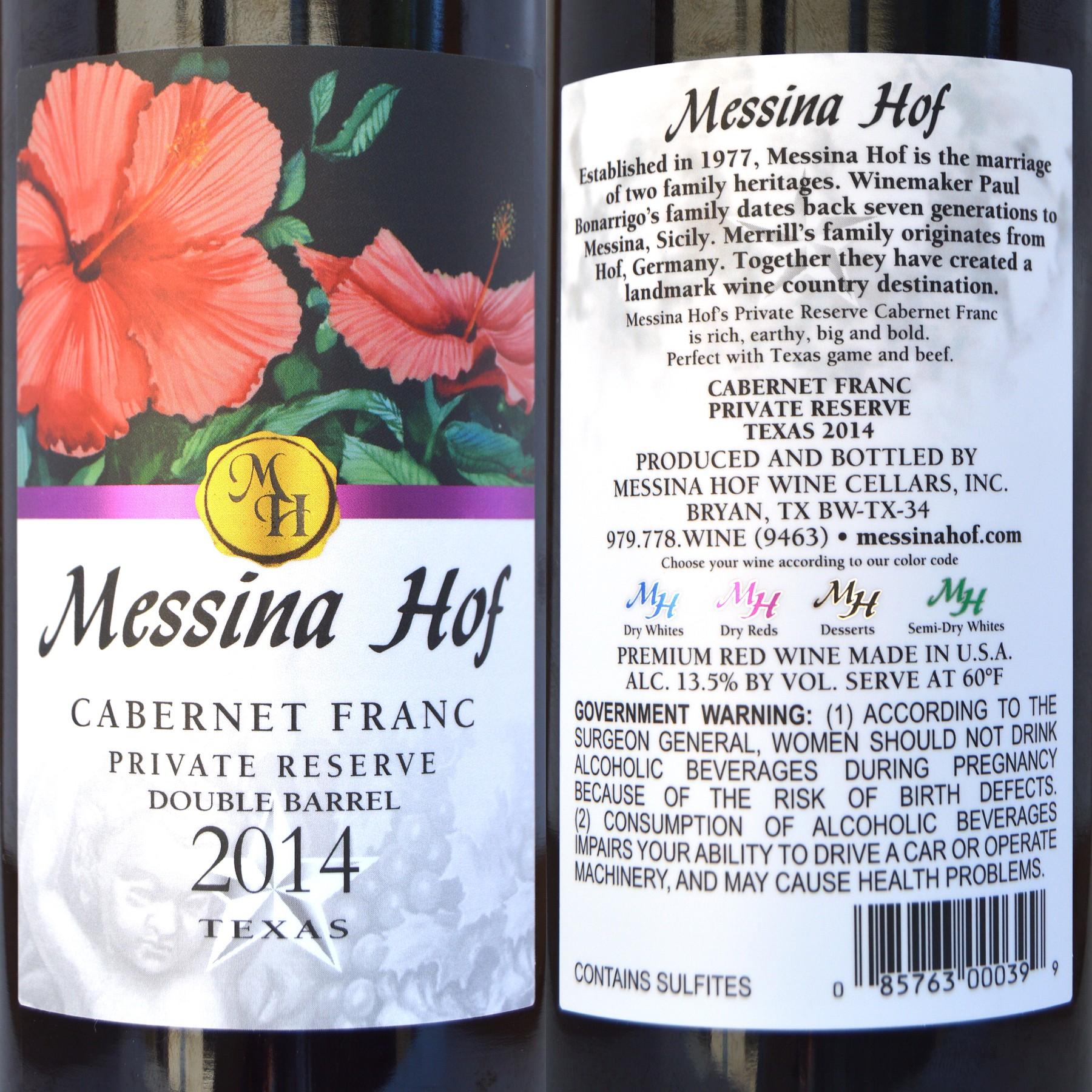 Messina Hof Cabernet Franc labels