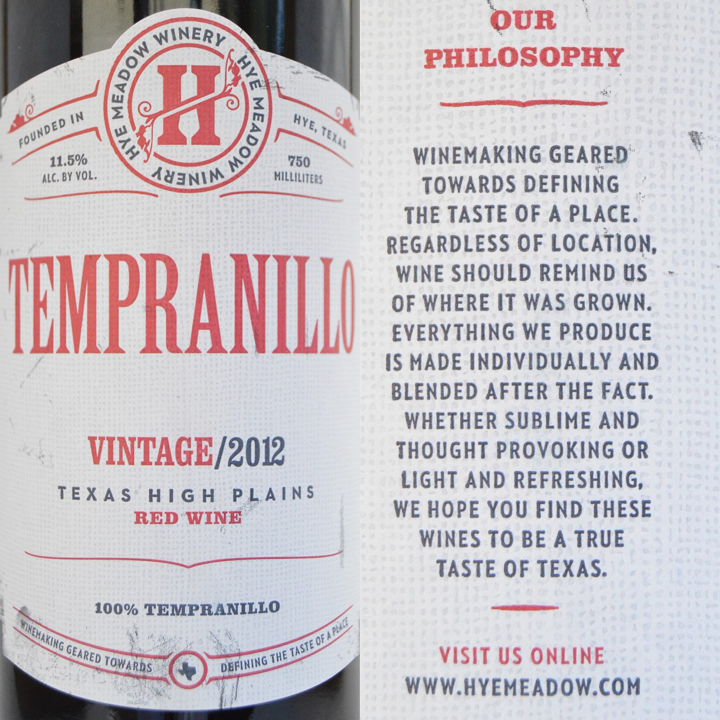 Hye Meadow Tempranillo labels