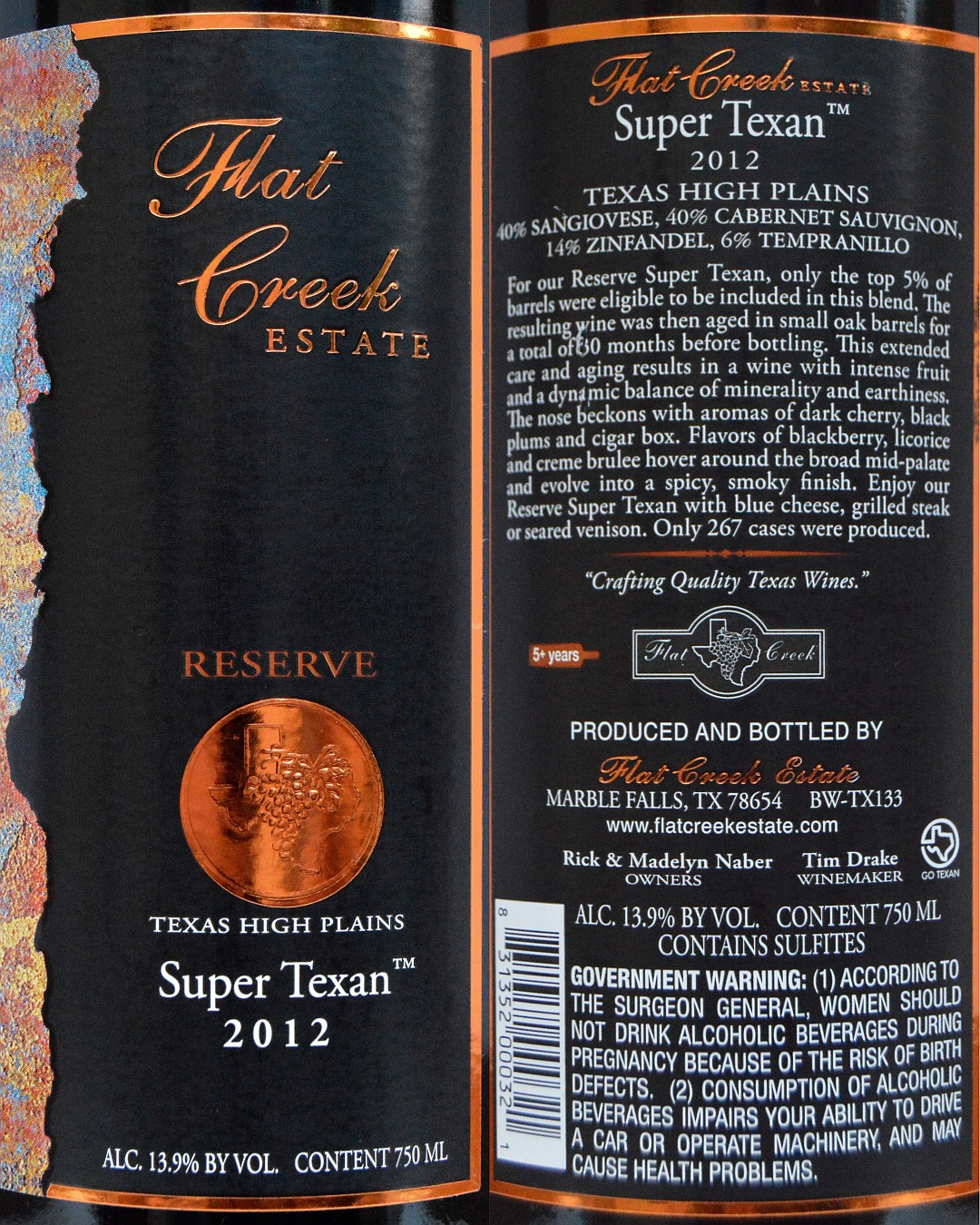 Flat Creek Estate Reserve Super Texan labels
