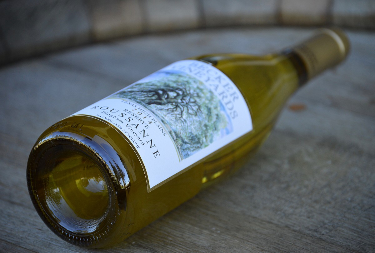 Becker Reserve Roussanne side of bottle
