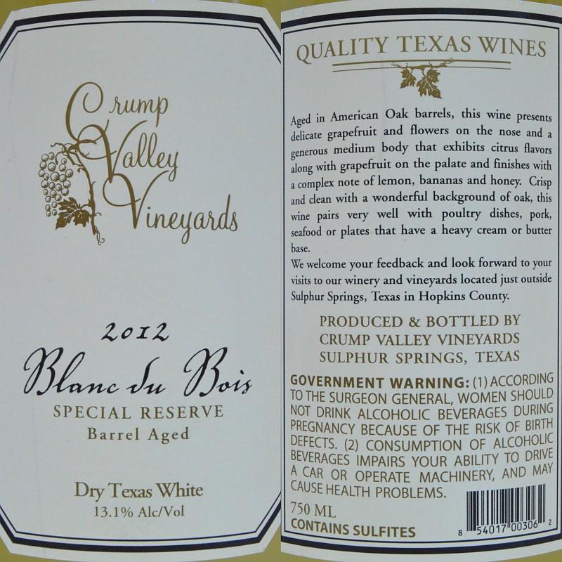 Crump Valley Vineyards Blanc du Bois labels