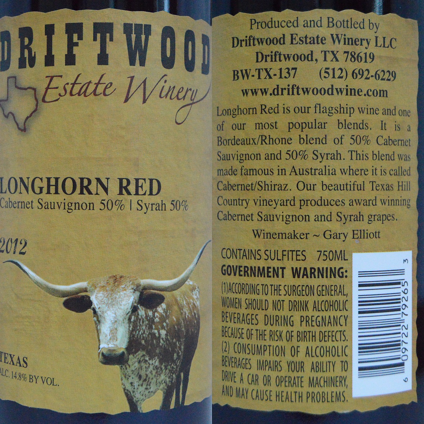 Driftwood Estate Winery Longhorn Red 2012 labels