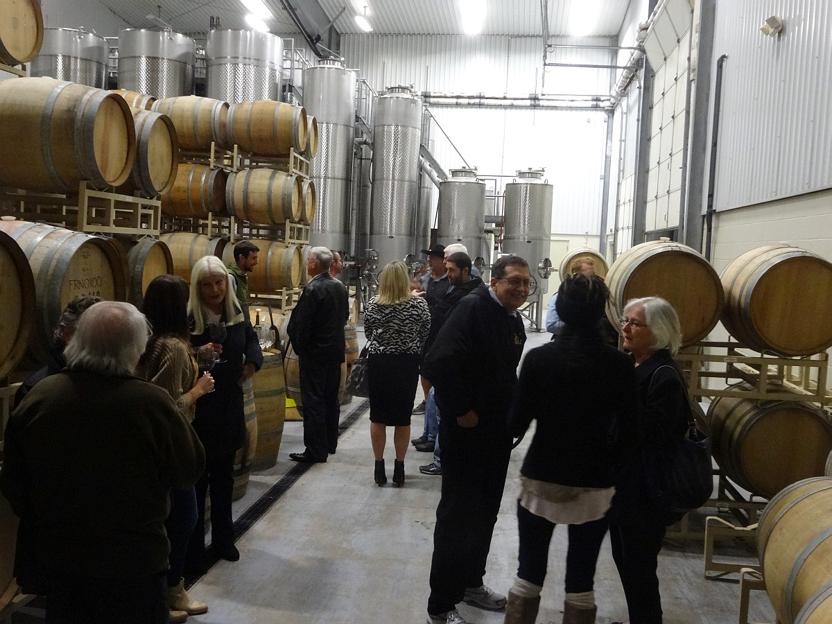 Group doing Aglianico barrel tasting