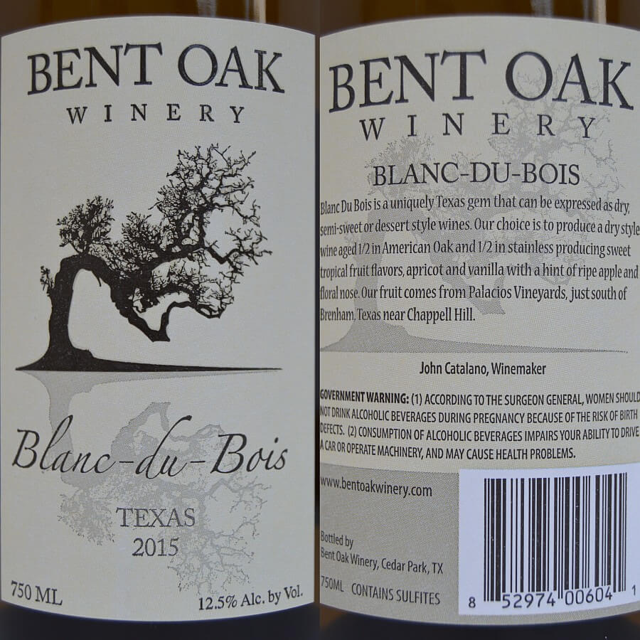 Bent Oak Winery Blanc du Bois labels
