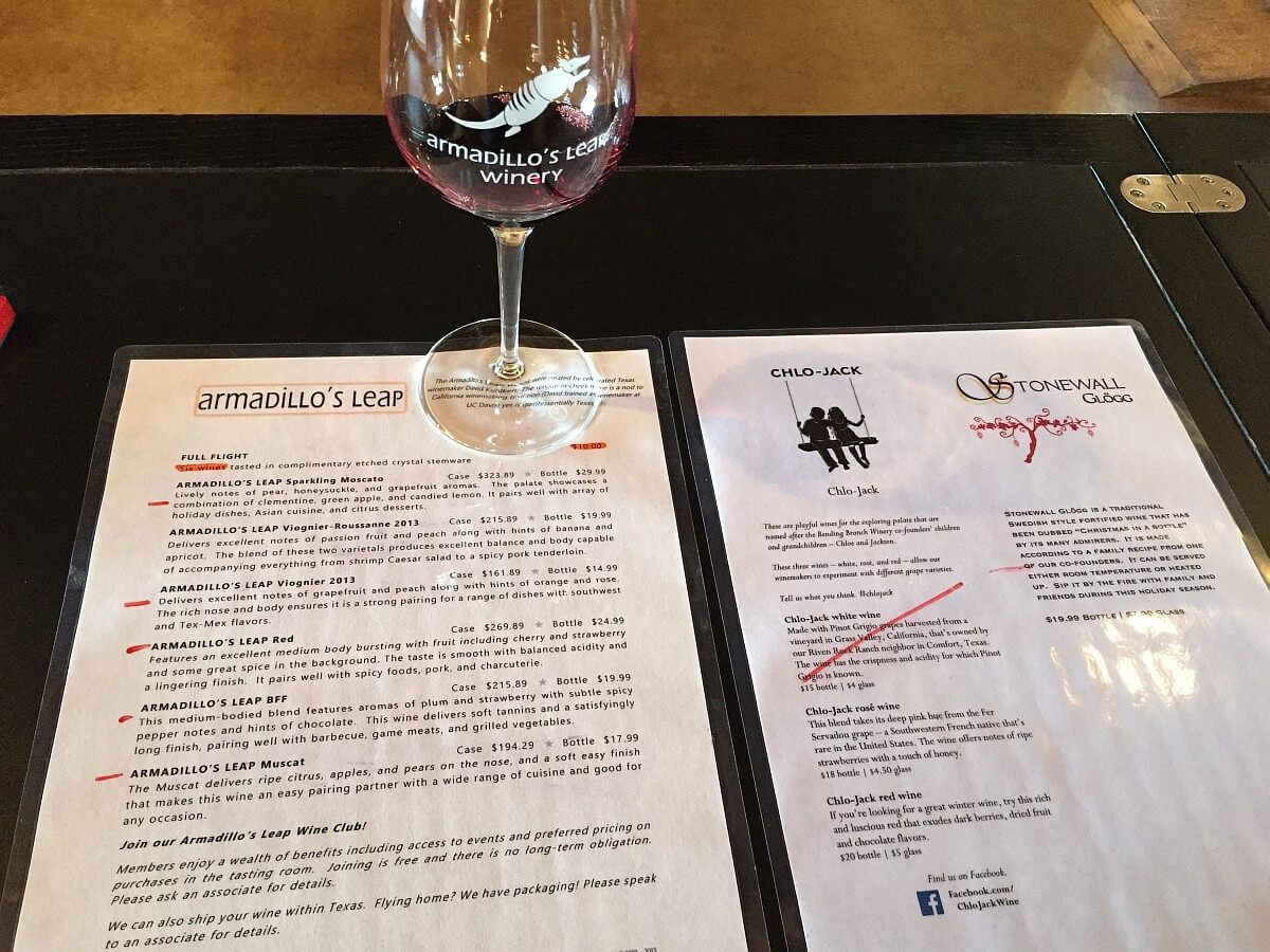Armadillo's Leap Winery tasting menu
