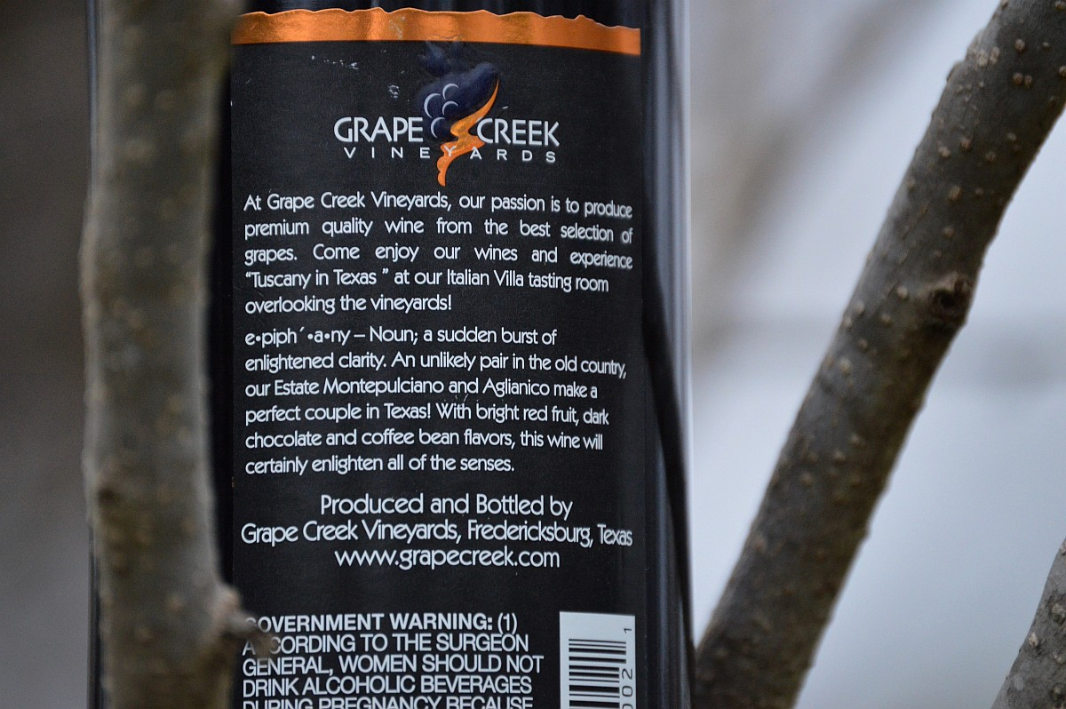 Grape Creek Vineyards Epiphany label