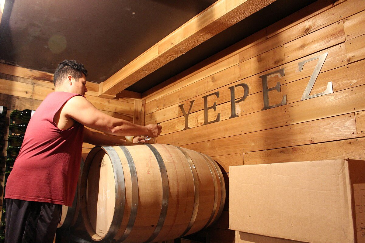 Doing a barrel tasting at Yepez Vineyard