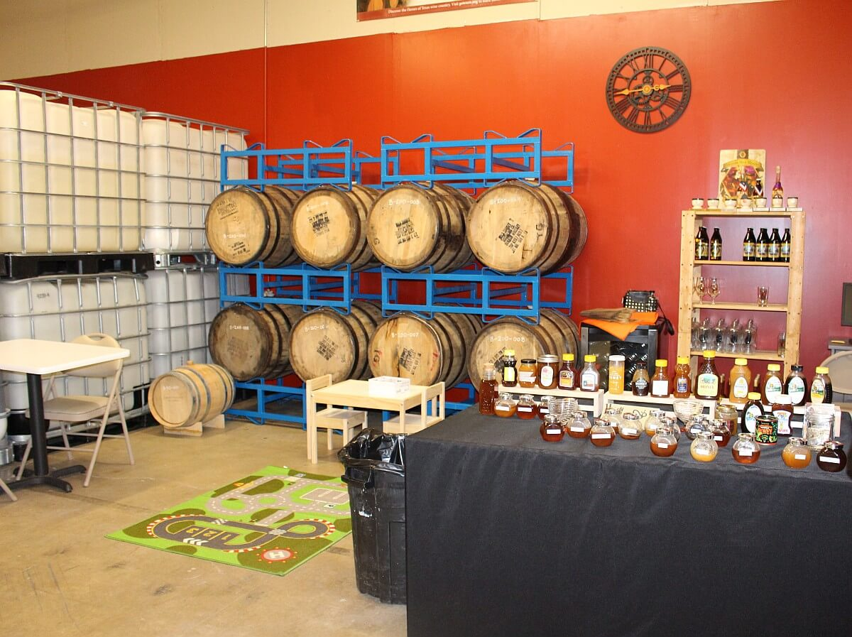 Meridian Hive honey and barrels