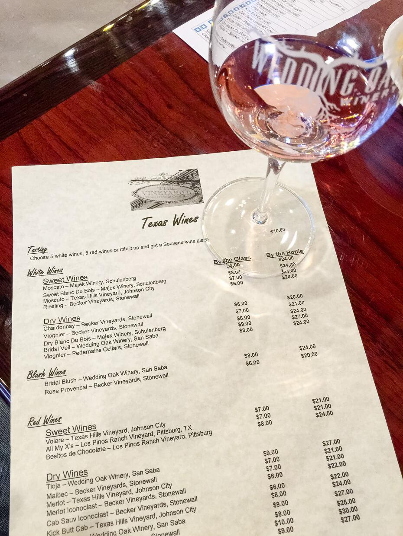 The Vineyard II tasting menu