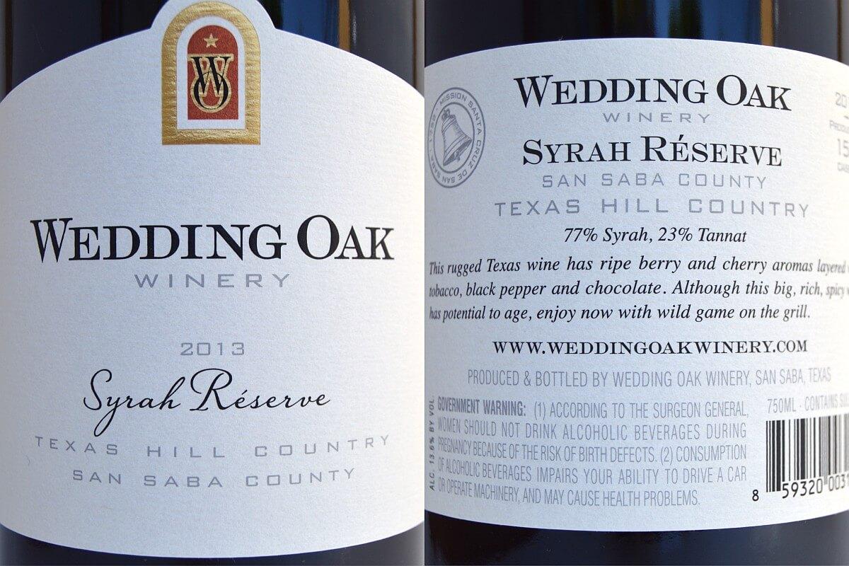 Wedding Oak Winery Syrah labels