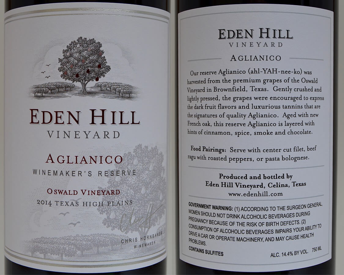 Eden Hill Aglianico labels