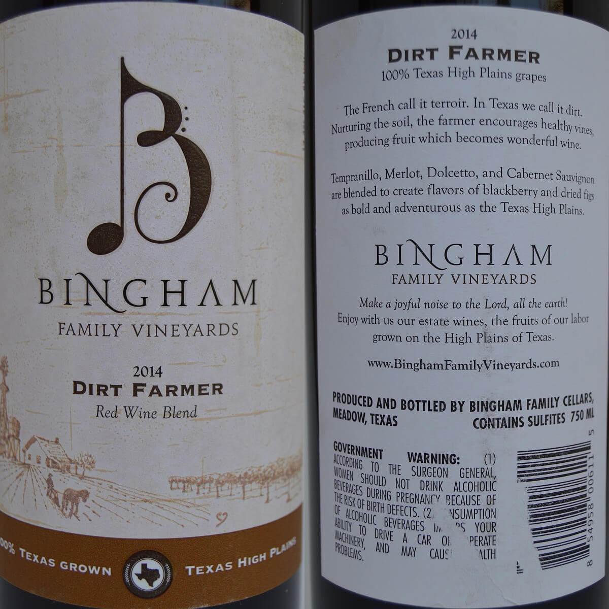 Bingham Dirt Farmer labels