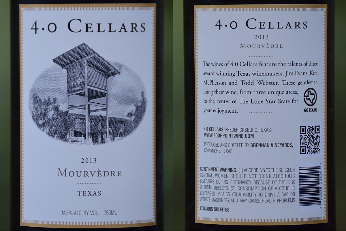 Texas wine label