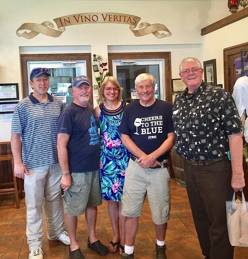 At Blue Ostrich L-R: Tim Morris, Patrick Whitehead, Laurie Ware, Jim Evans, Carl Hudson
