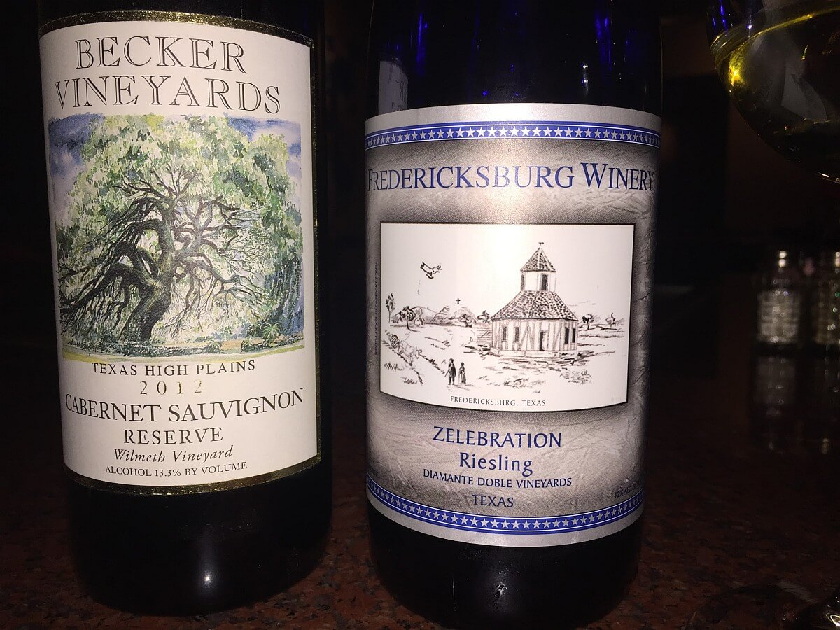 Becker and Fredericksburg Winery wines