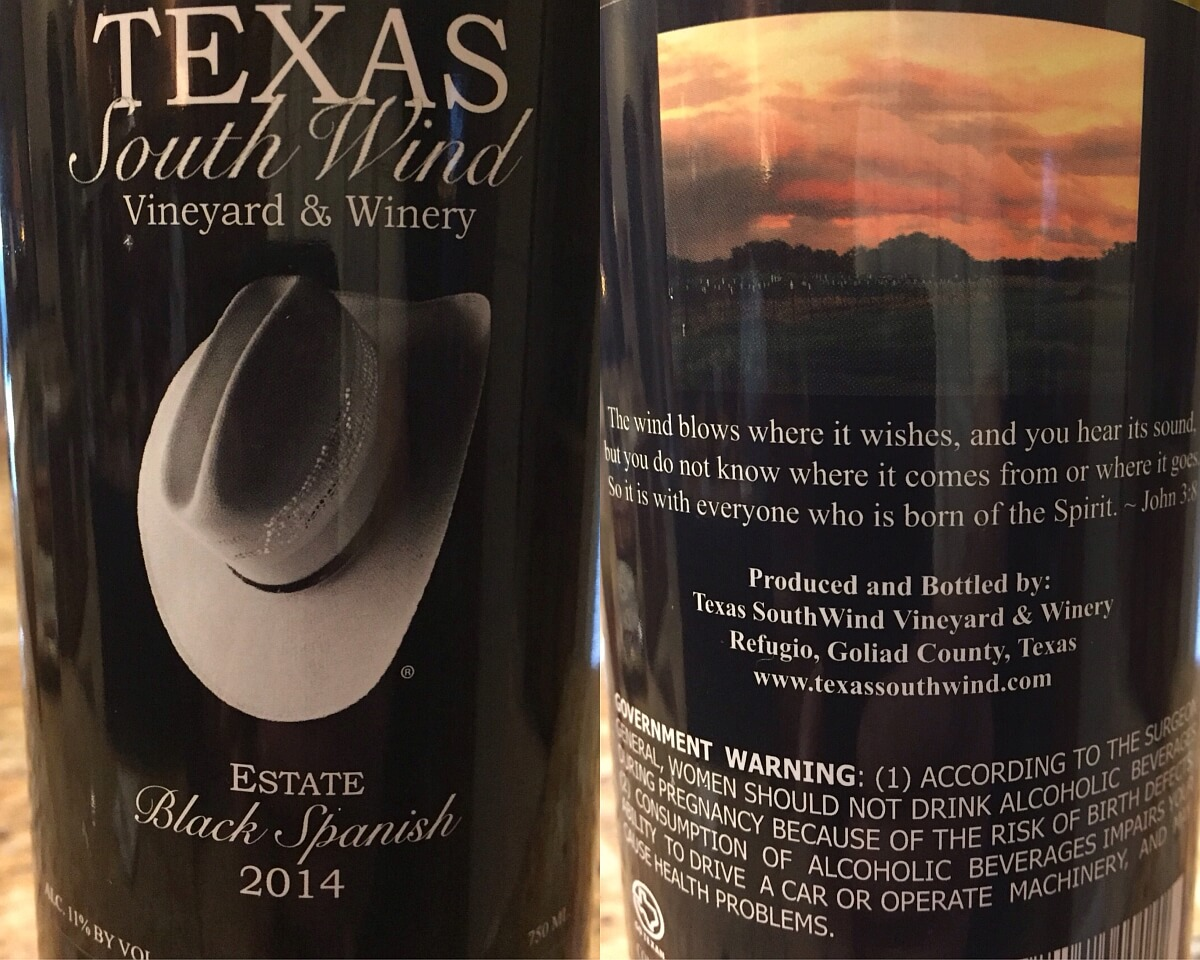 Texas SouthWind Black Spanish labels
