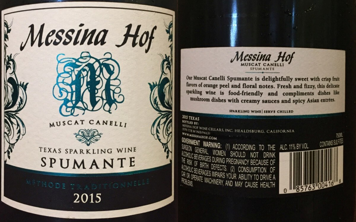 Messina Hof Spumante labels