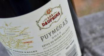 Les Dauphins Côtes du Rhône Villages Puyméras Rouge 2014 bottle side