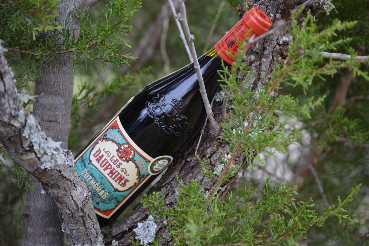 Les Dauphins Côtes du Rhône Villages Puyméras Rouge 2014 bottle
