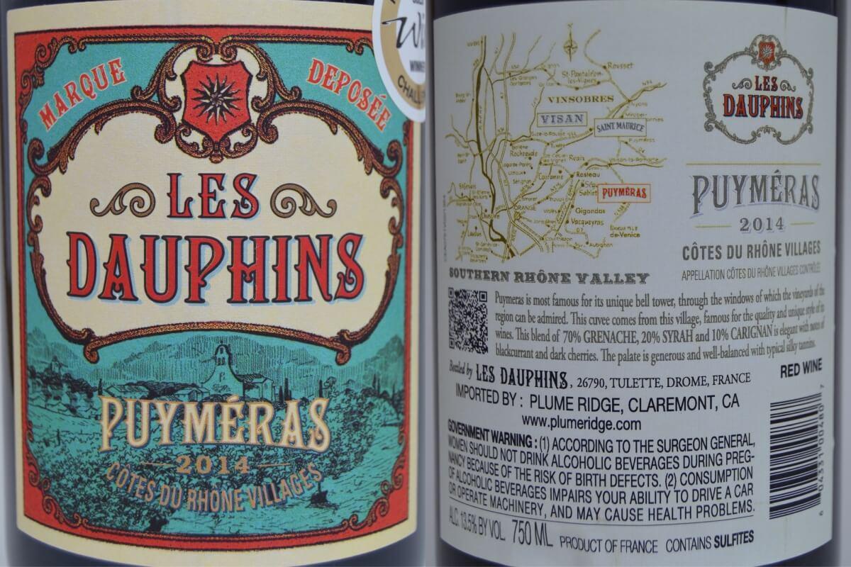 Les Dauphins Côtes du Rhône Villages Puyméras Rouge 2014 labels