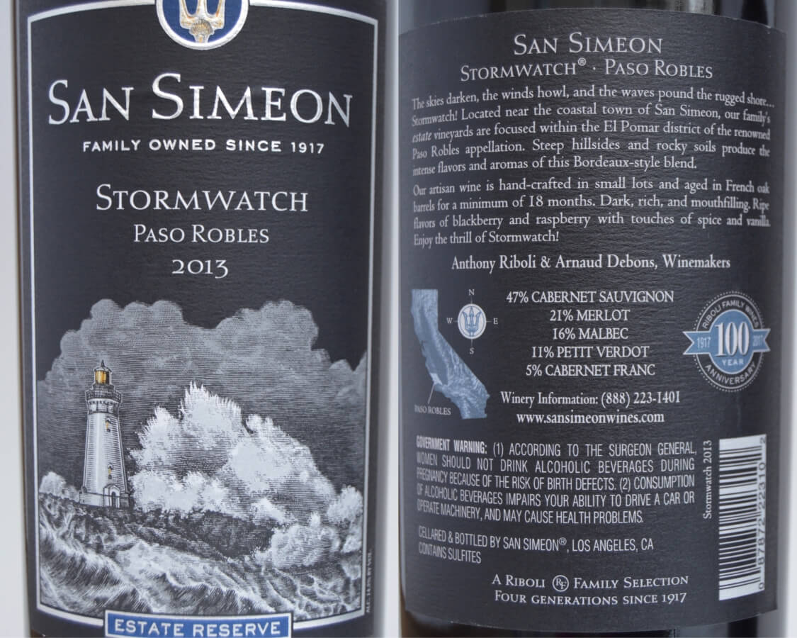 San Simeon Stormwatch labels