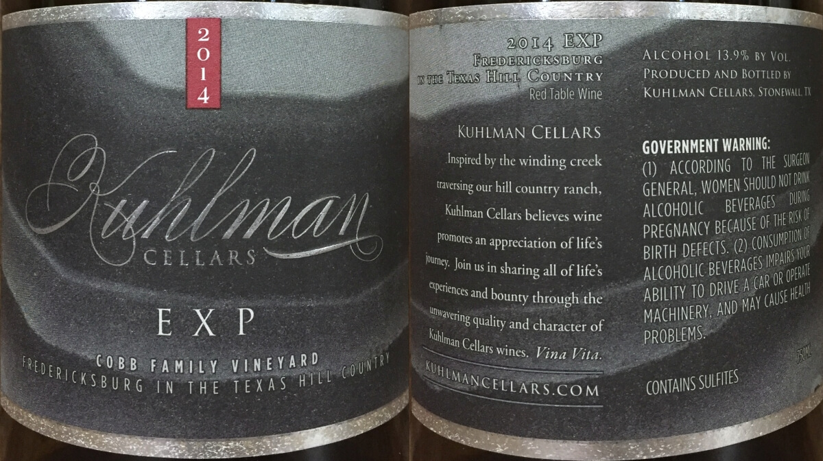 Kuhlman Cellars EXP labels