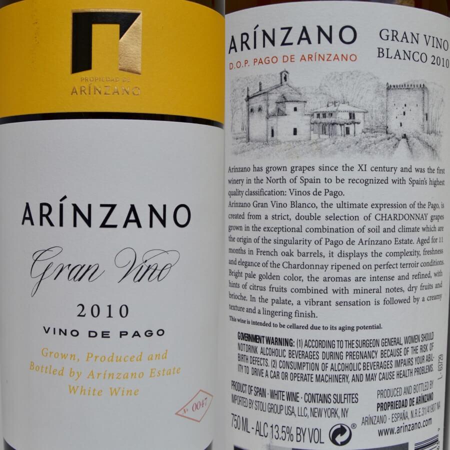 Arínzano Chardonnay labels