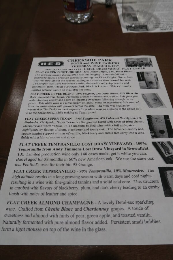 Flat Creek Estate tasting sheet