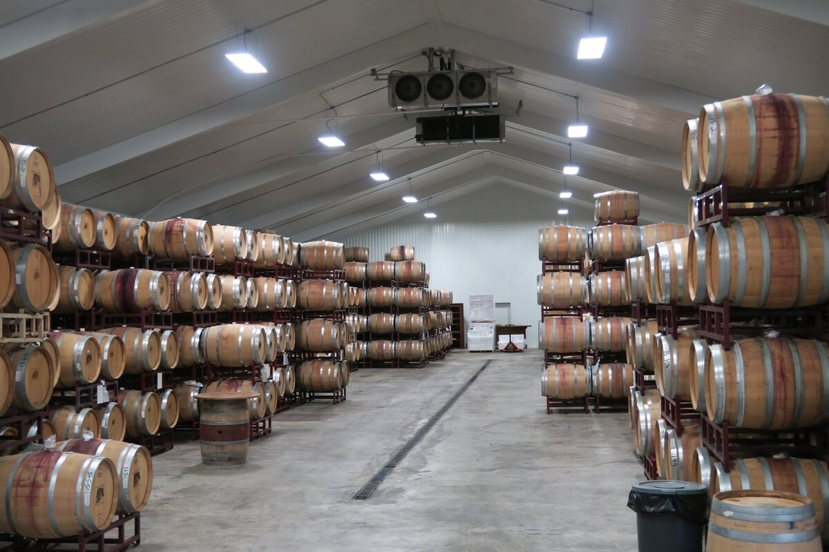 Becker Vineyards barrel room