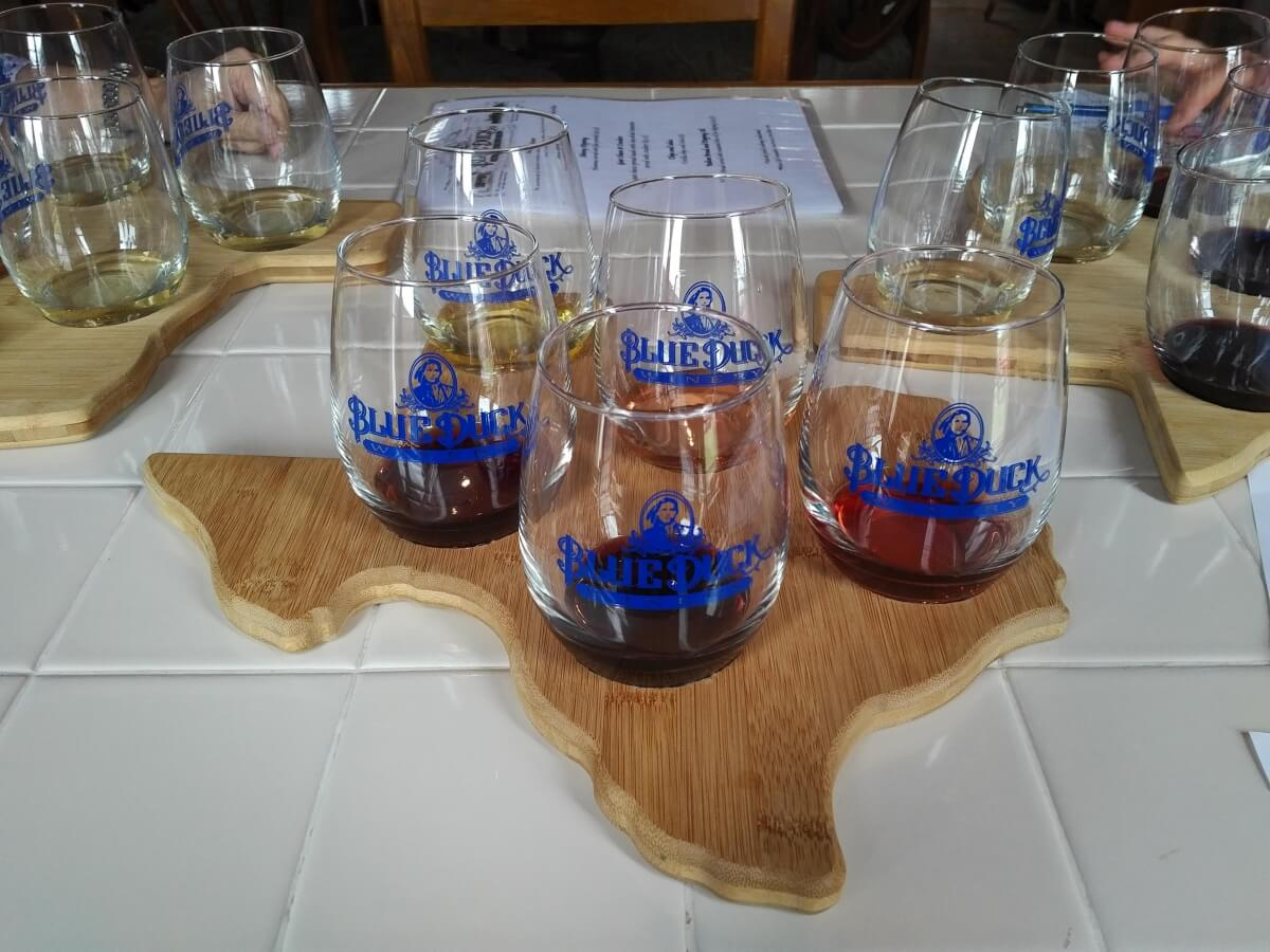 Blue Duck Winery tasting glasses