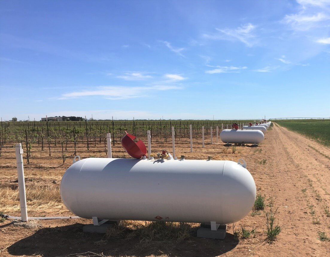 500-gal Propane tanks used to fuel the frost protection system at Diamante Doble Vineyard in Tokio, TX