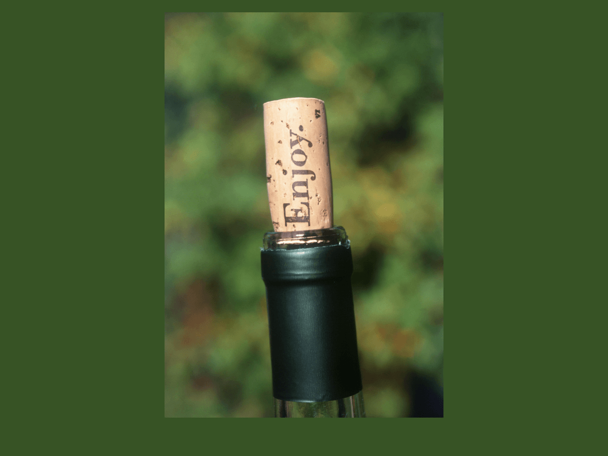 Wine bottle with cork out