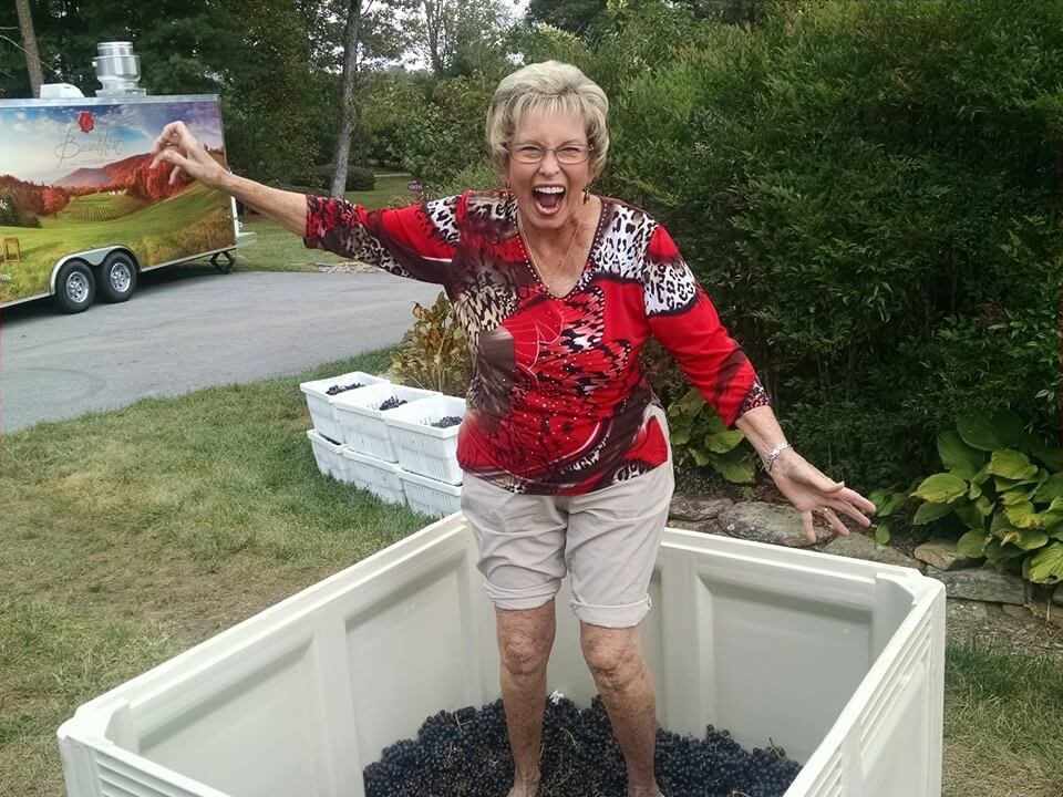 Barbara grape stomping