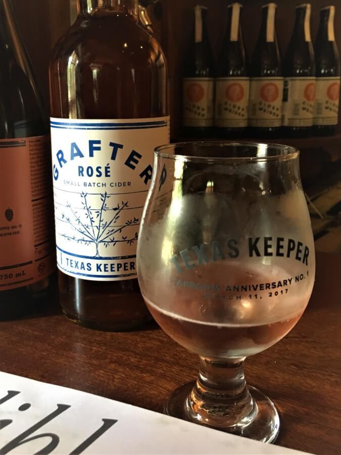 Texas Keeper Cider rose glass