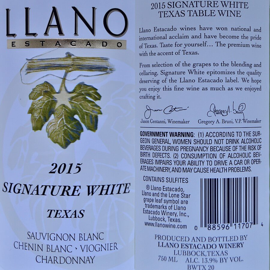 Llano Estacado Signature White labels