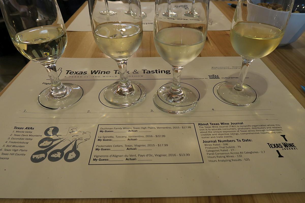 Texas vs the World white wines